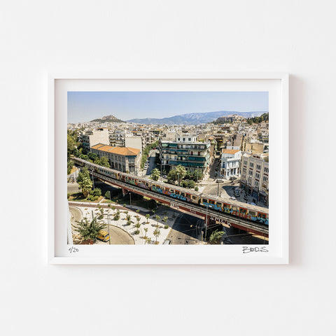 REMOTE SENSING - ALPHA - FINE ART PRINT BY GOOD GUY BORS - ATHENS METRO LINE ONE - AERIAL PHOTOGRAPHY - SIGNED AND NUMBERED