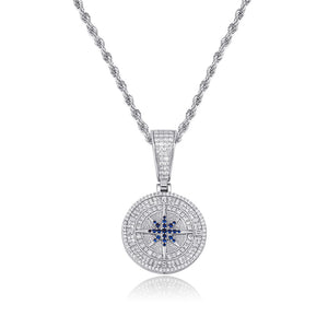 Compass Pendant - White Gold