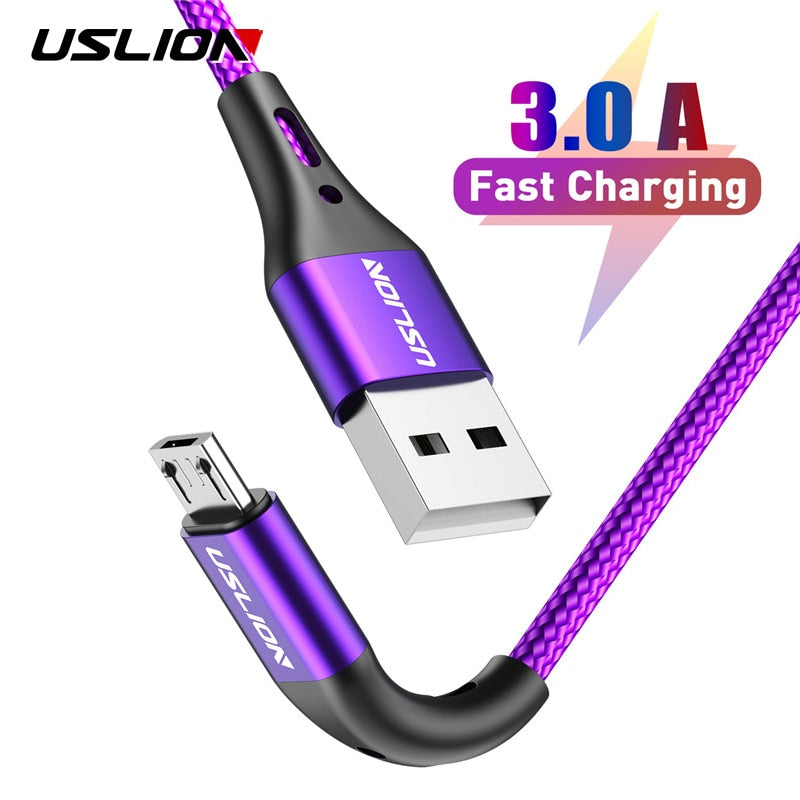USLION 2m 3m Micro USB Cable 3A Fast Charging Data Cable