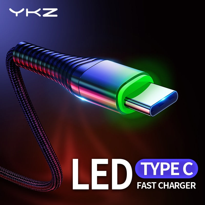 Type C LED Fast Charge 3A USB Cable