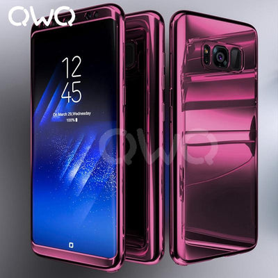 360 Degree Plating Mirror Cases For Samsung Galaxy S9 S8 S7 Edge Full Cover Protective For Samsung Note 9 8 S9 Plus Case Cover
