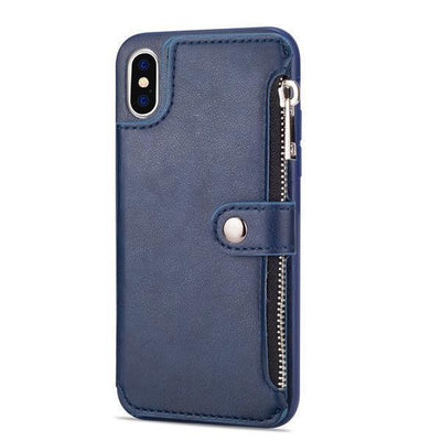 Retro Zipper Cases For iPhone 8 7 6S 6 Plus Case for iPhone X XS MAX XR Multi Card Holders leather Wallet Phone Cover