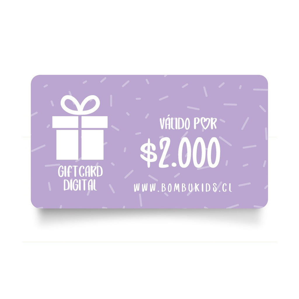 Regala Gift Card digital. www.bombukids.cl