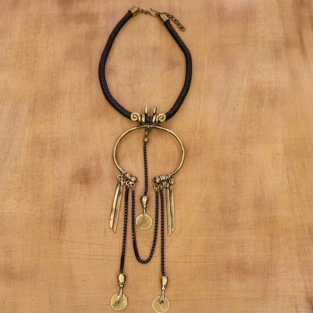 SERAGLIO Bronze Shackle Necklace - on wood background