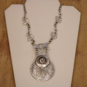 SERAGLIO Floral Silver Necklace - on white background