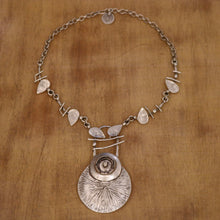Load image into Gallery viewer, SERAGLIO Floral Silver Necklace - on wood background