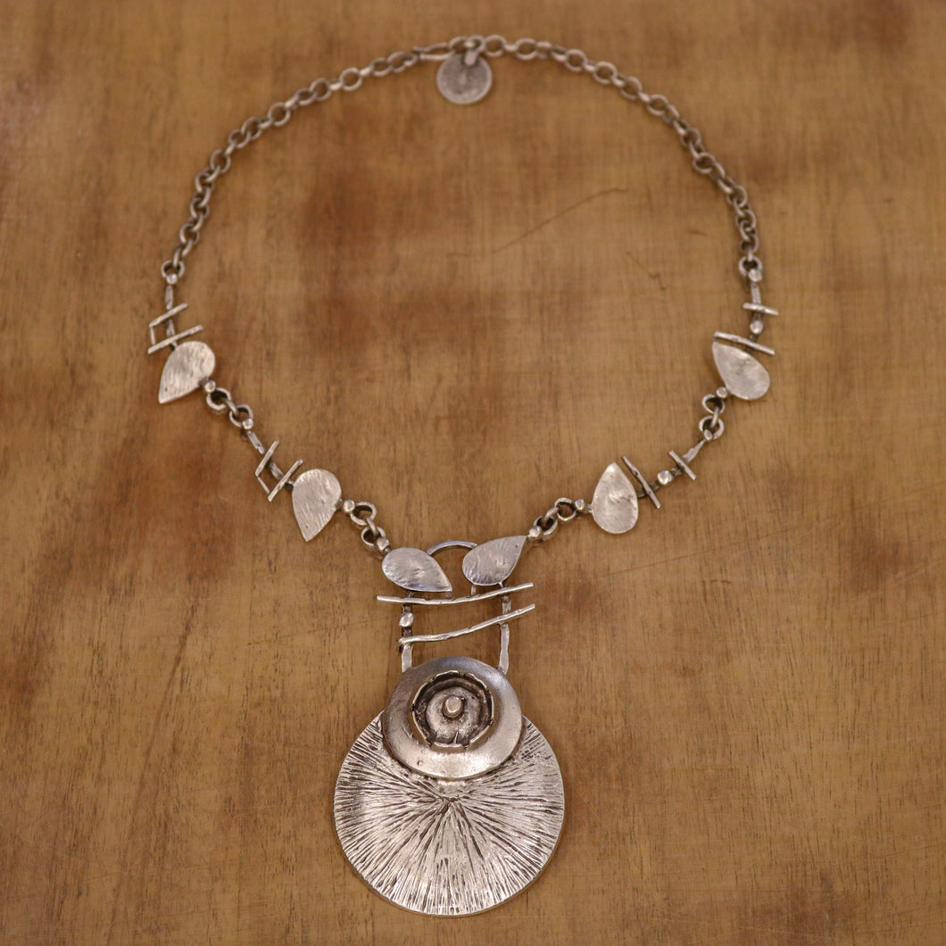 SERAGLIO Floral Silver Necklace - on wood background