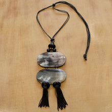 Load image into Gallery viewer, HORN JEWELRY Tassel Necklace - on wood background