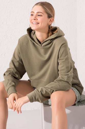 Model wearing BSL Hooded Sweatshirt - khaki