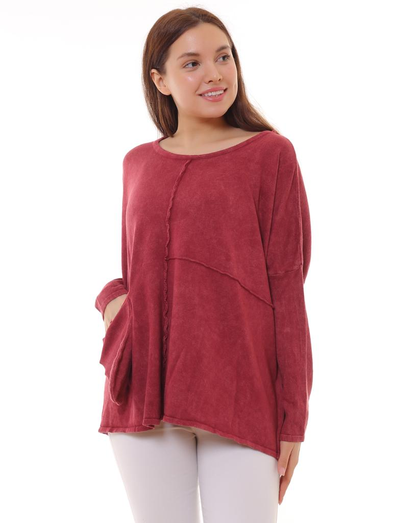 BOHEMIAN FASHIONS Cotton Jumper - burgundy