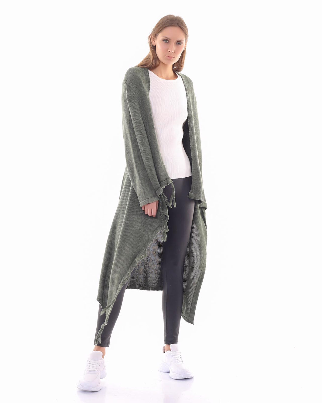 BOHEMIAN FASHIONS Duster Cardigan - Olive green