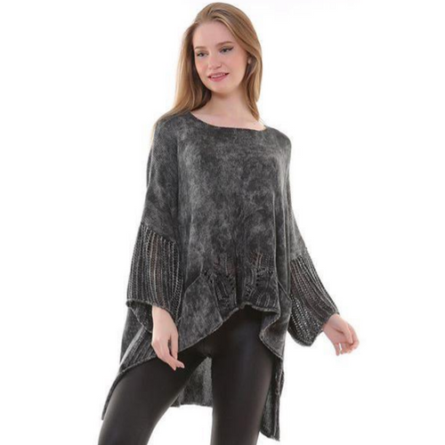 BOHEMIAN FASHIONS Knit Sleeve Sweater - Charcoal