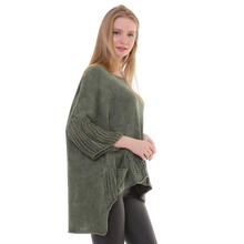 Load image into Gallery viewer, BOHEMIAN FASHIONS Knit Sleeve Sweater - Khaki