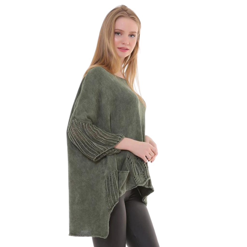 BOHEMIAN FASHIONS Knit Sleeve Sweater - Khaki