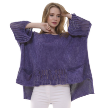 Load image into Gallery viewer, BOHEMIAN FASHIONS Knit Sleeve Sweater - purple