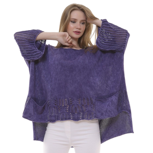BOHEMIAN FASHIONS Knit Sleeve Sweater - purple