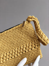 Load image into Gallery viewer, CAK Mustard Crochet Clutch - close up look