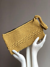 Load image into Gallery viewer, CAK Mustard Crochet Clutch