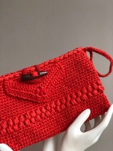 CAK Tangerine Crochet Clutch - close up look