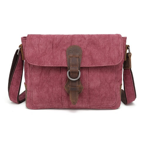 DAVAN Linen Shoulder Bag - burgundy