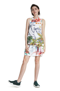 DESIGUAL Tropical Mini Dress with sneakers
