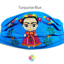 Load image into Gallery viewer, Frida Embroidered Face Mask - turquoise blue