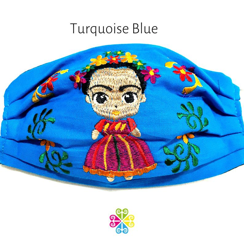 Frida Embroidered Face Mask - turquoise blue