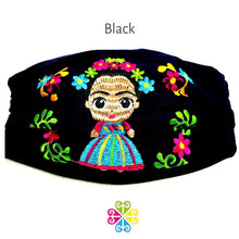 Load image into Gallery viewer, Frida Embroidered Face Mask - black