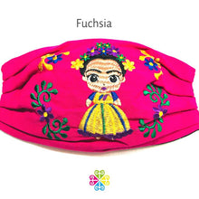 Load image into Gallery viewer, Frida Embroidered Face Mask - fuchsia
