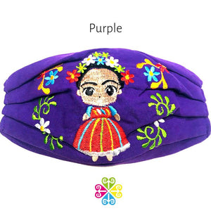Frida Embroidered Face Mask - purple