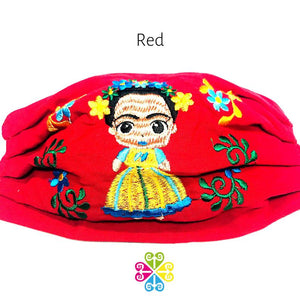 Frida Embroidered Face Mask - red