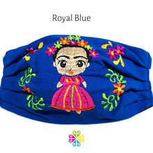 Load image into Gallery viewer, Frida Embroidered Face Mask -royal blue
