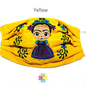 Frida Embroidered Face Mask - yellow