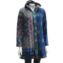 Load image into Gallery viewer, LEOPARDS & ROSES Ethnic Hoodie - blue