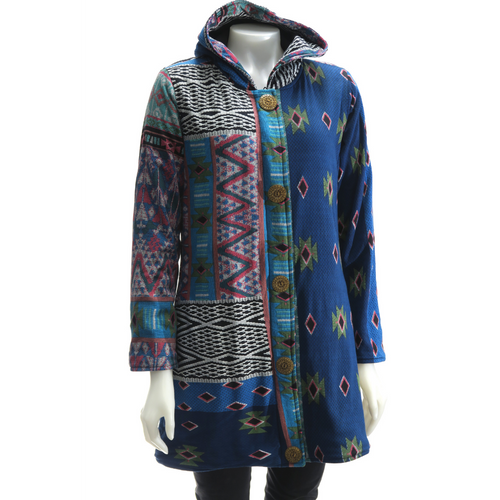 LEOPARDS & ROSES Ethnic Hoodie - blue