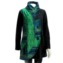 Load image into Gallery viewer, LEOPARDS & ROSES Half Circle Jacket - turquoise