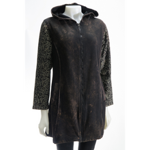 Load image into Gallery viewer, LEOPARDS & ROSES Leather Hoodie - black