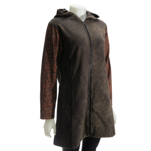 LEOPARDS & ROSES Leather Hoodie - brown