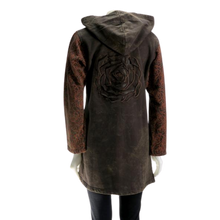 Load image into Gallery viewer, LEOPARDS & ROSES Leather Hoodie - brown (back)