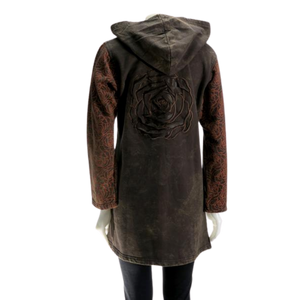 LEOPARDS & ROSES Leather Hoodie - brown (back)