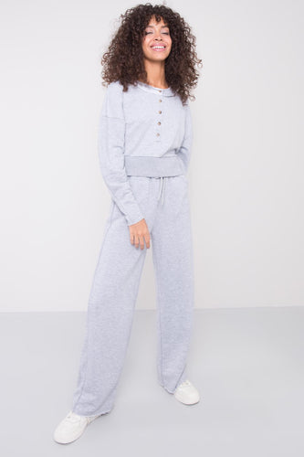 Model wearing BSL High Waist Sweatpants - grey