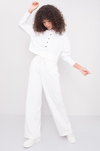 Model wearing BSL High Waist Sweatpants - white