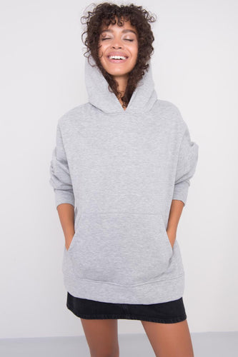Model wearing BSL Kangaroo Pocket Hoodie - grey