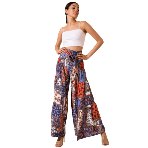 Model wearing BSL Wide Leg Trousers - navy