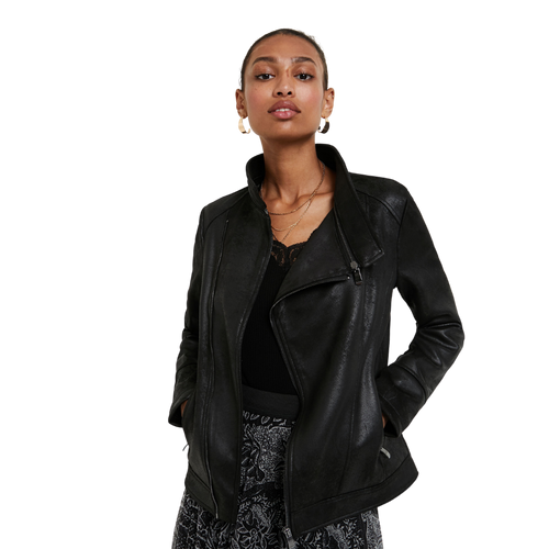 Model wearing DESIGUAL Black Biker Jacket