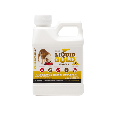 Image of SBK'S LIQUID GOLD FOR DOGS High Calorie Dietary Supplement- Peanut Butter Flavor- 16 oz - GOLD CLUB CANINE GROUP LLC
