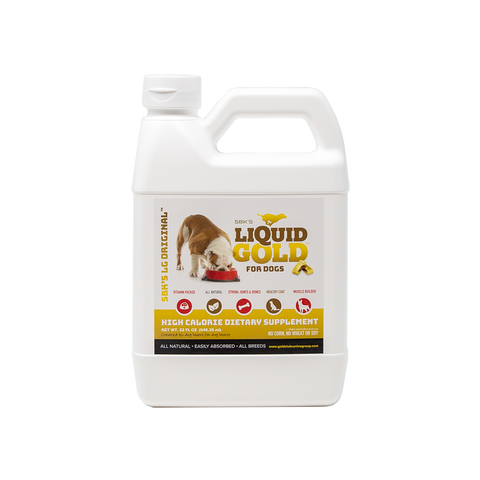 Image of SBK'S LIQUID GOLD FOR DOGS High Calorie Dietary Supplement- Peanut Butter Flavor- 32 oz - GOLD CLUB CANINE GROUP LLC