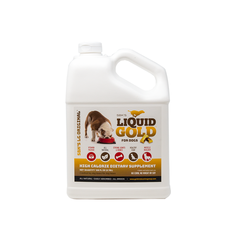 Image of SBK'S LIQUID GOLD FOR DOGS High Calorie Dietary Supplement- Bacon Flavor-Gallon - GOLD CLUB CANINE GROUP LLC