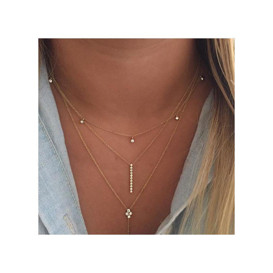 5 DANGLING DIAMOND CHOKER NECKLACE - bobbie carr