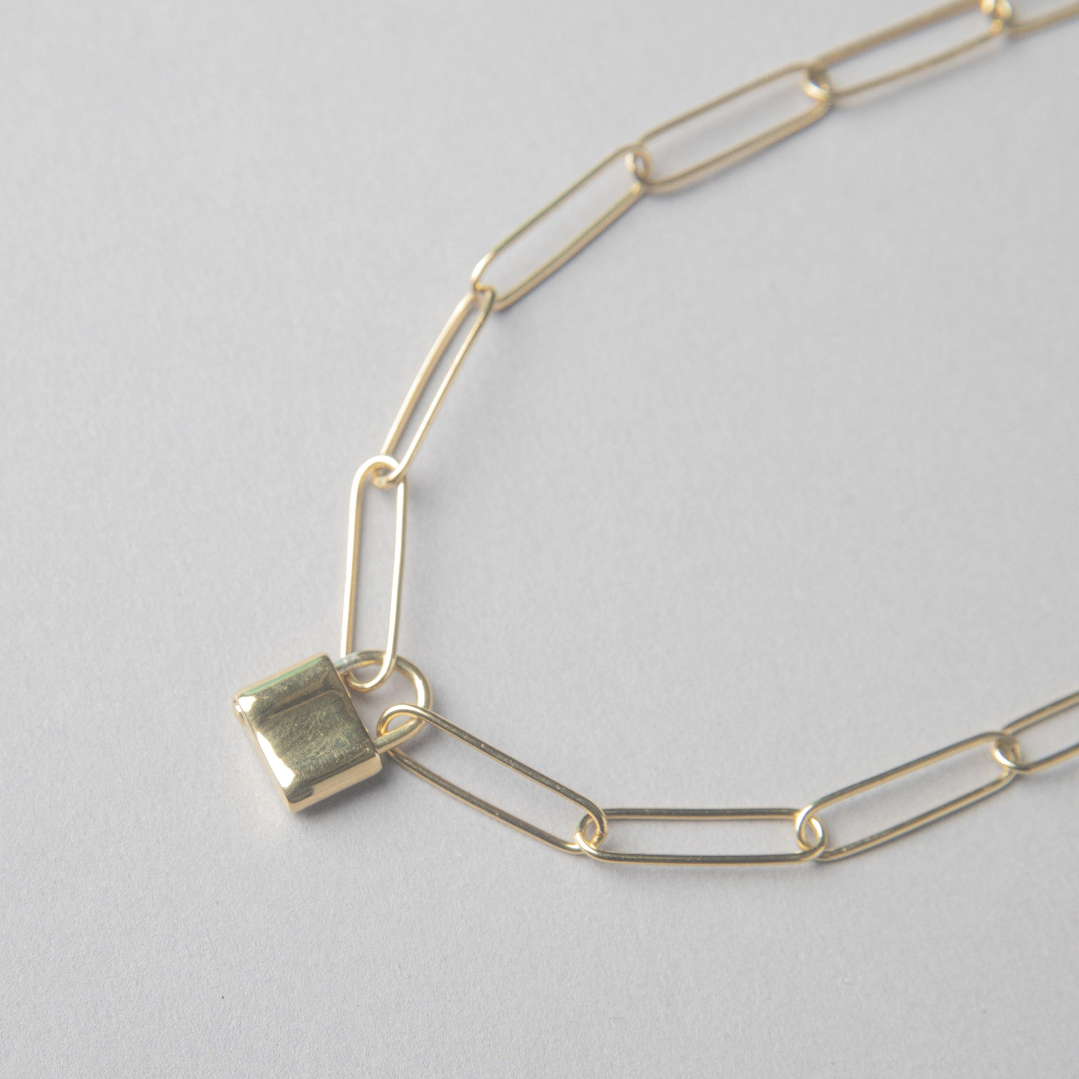ROUND LINK PAPER CLIP NECKLACE WITH PADLOCK - bobbie carr